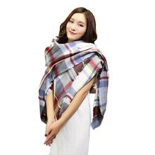 Stylish 2015 Winter Women 142*136CM warm Cashmere Scarf Wrap Shawl Plaid Cozy Checkered lady thicken Blanket Oversized Tartan