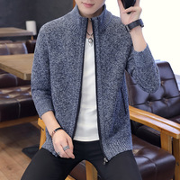 Men's 2018 New Knit Cardigan Long Sleeve Casual Solid Color Men's Sweater Men's Thick Korean Edition Autumn Plus Velvet Jacket