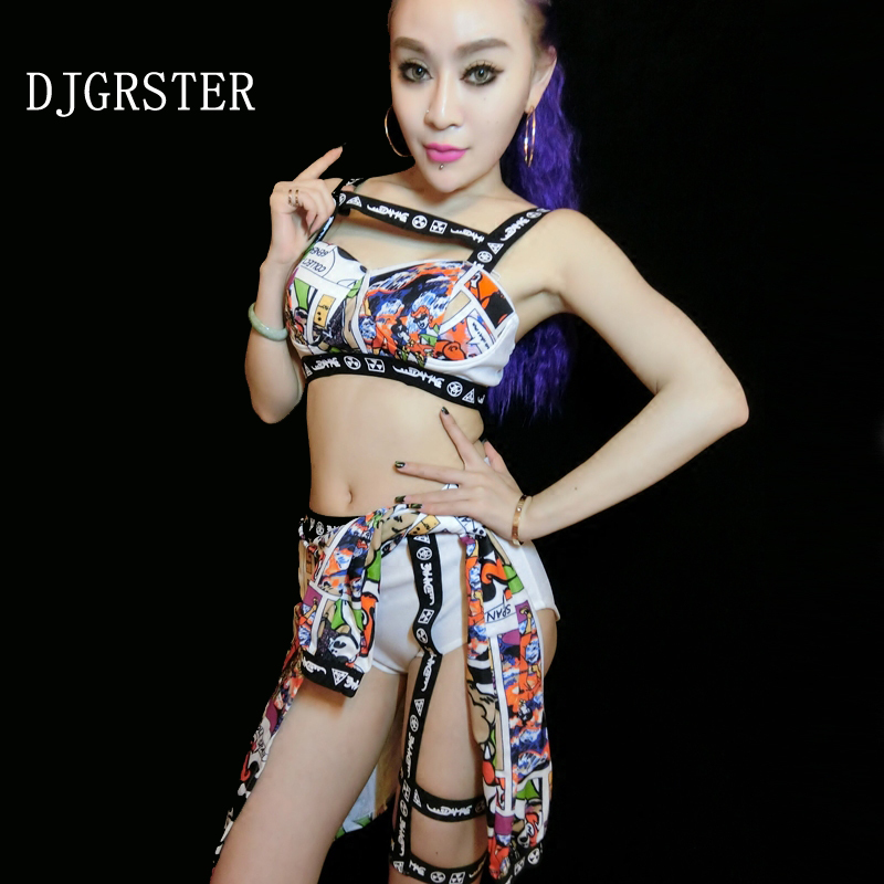 DJGRSTER 2017 New sexy women jazz dance costumes Bra+shorts two-piece suit dj stage costumes for singers hip hop dance costumes