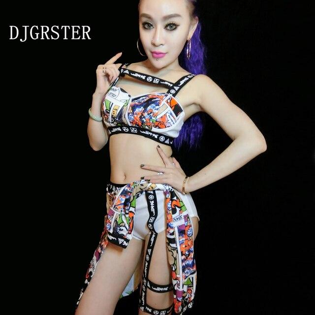 Djgrster 2018 nueva mujeres sexy danza jazz sujetador + shorts de dos  piezas traje DJ escenario 7a04fc7d45c
