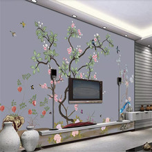 Custom 3d wallpaper modern minimalist fashion flower and bird sofa living room bedroom large background wall