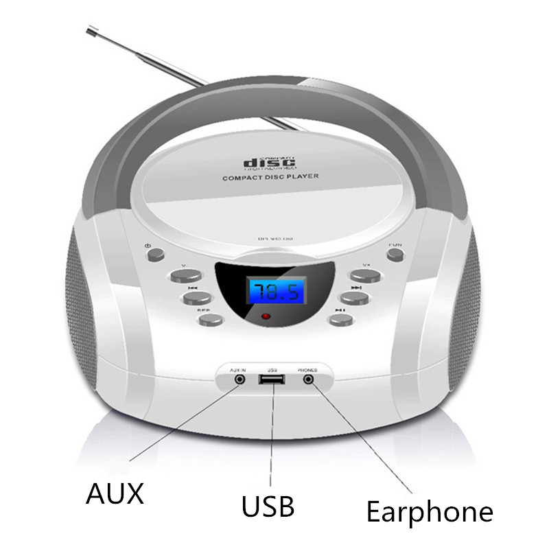 LONPOO Stereo Portable CD Player Boombox with Bluetooth FM Radio Aux Speaker LED Display CD Player