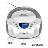 LONPOO Stereo Portable CD Player Boombox with Bluetooth FM Radio Aux Speaker LED Display CD Player USB Headphone Boombox
