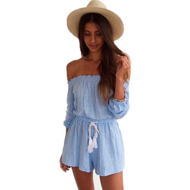 fa7ff1ba7c5c summer Short women rompers Bohemian Cute Solid Short Sashes elegant jumpsuit  Off the Shoulder Strapless womens jumpsuit