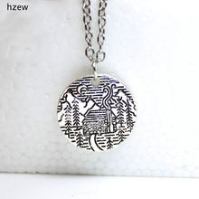 hzew Pine Tree cabin scene moon mountain necklaces camping jewelry pendant necklace