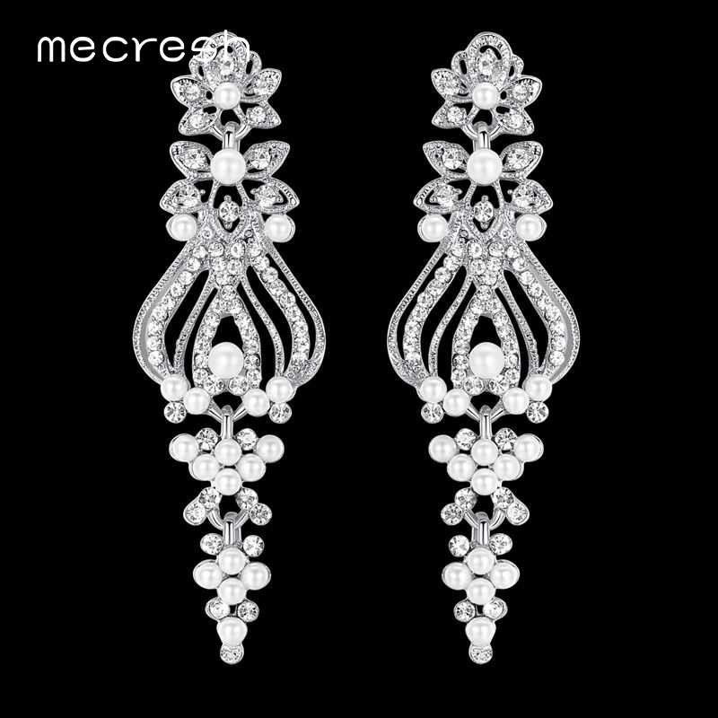 Mecresh Simulated Pearl Vase Shape Wedding Earrings Silver/Gold-Color Crystal Bridal Long Earrings 2018 Fashion Jewelry MEH1046