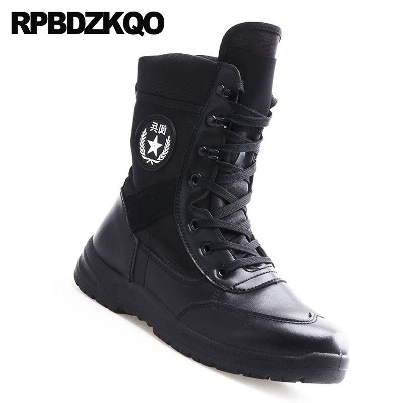 De Táctico Durable Plana Lace Más Militar Negro Grande Tobillo Up Impermeable Botas Combate Hombres Casual Tamaño Corto Zapatos Otoño Retro Ejército qppftv06