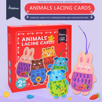 Mideer Kinderen Houten Dier Vetersluiting Kaarten Games Building Speelgoed Threading String puzzel Schoenveters Speelgoed
