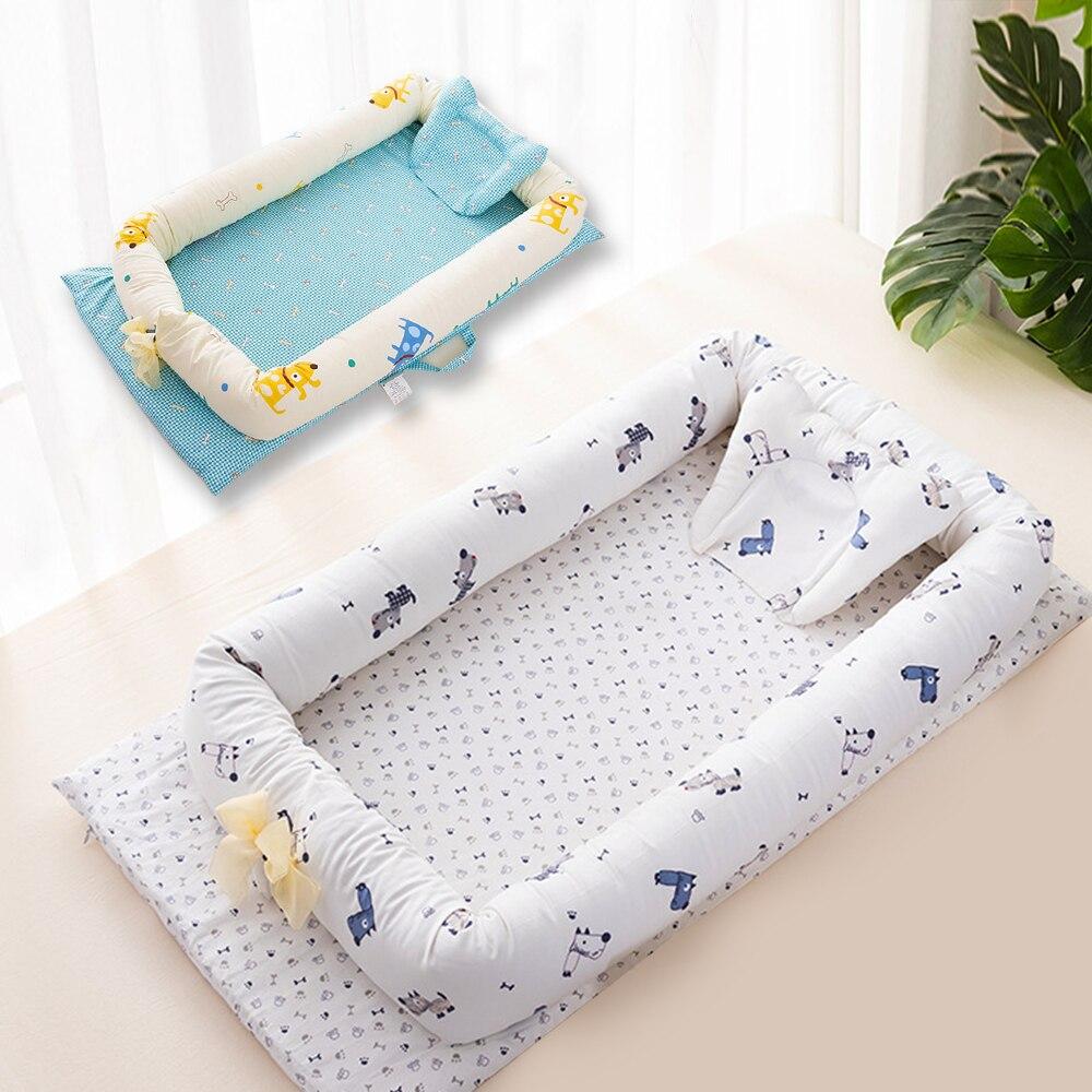 Dessin animé imprimer bébé lit pare-chocs bébé nid Portable doux coton enfants lit bébé berceau berceau avec oreiller enfant en bas âge Babynest berceau