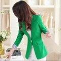 Long-sleeved suit female 2016 Hitz Korean short paragraph Slim was thin suit plus size women's green coat