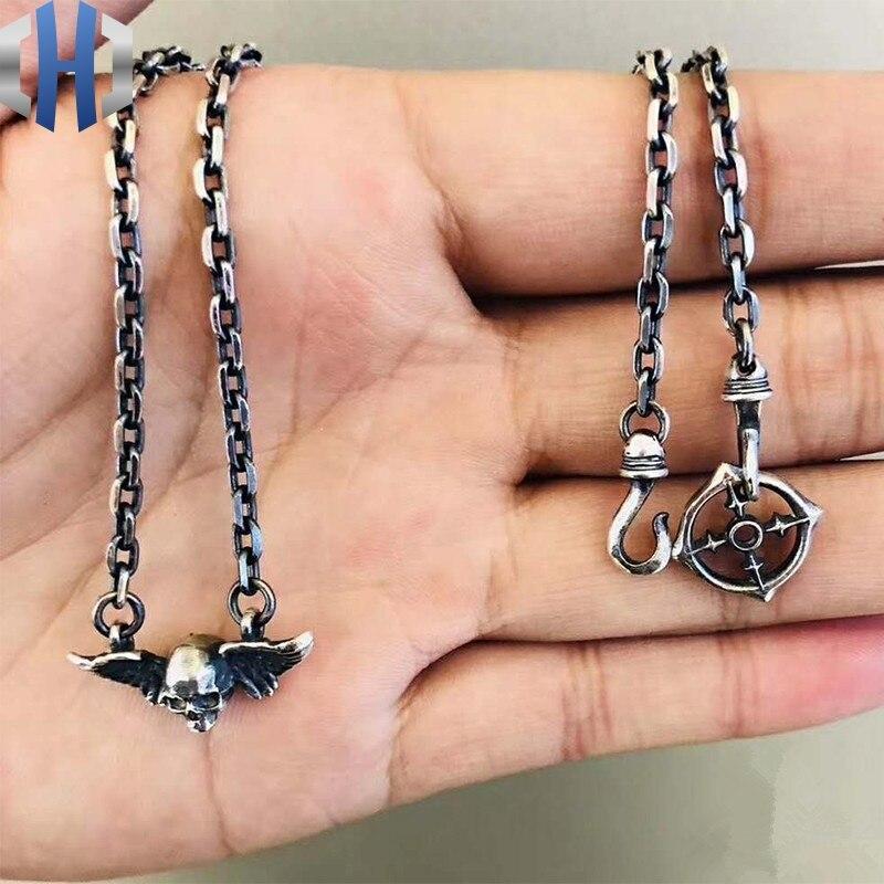 Pendentif crâne à deux ailes Design Original collier ailes en argent 925 collier rétro femme chaîne clavicule