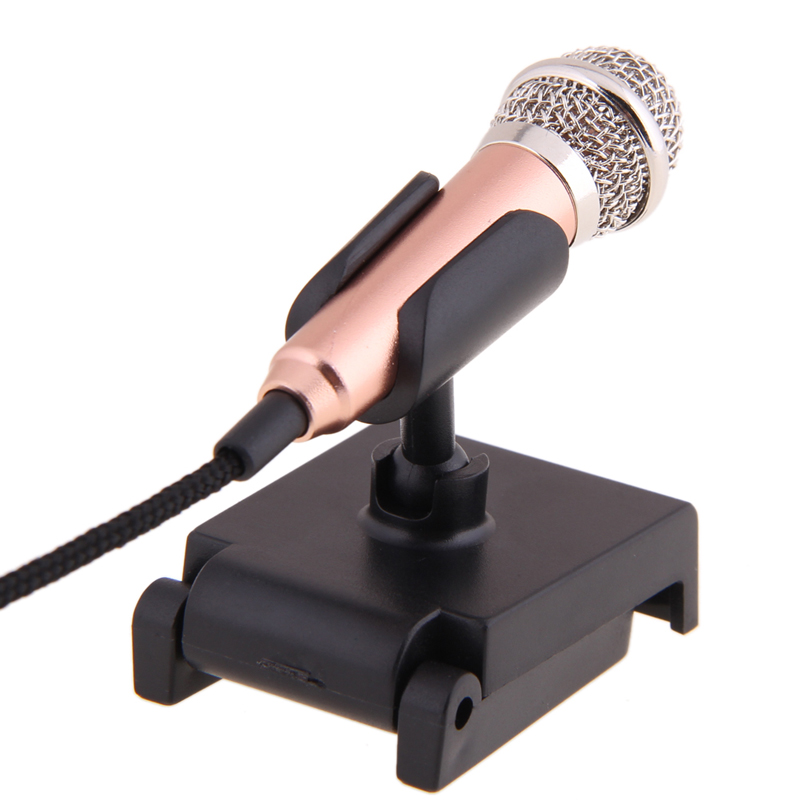 Gold Mini 3.5mm Pocket Size Multimedia Clip Mic Microphone With Mic Stand For PC Laptop Desktop Studio Speech Skype