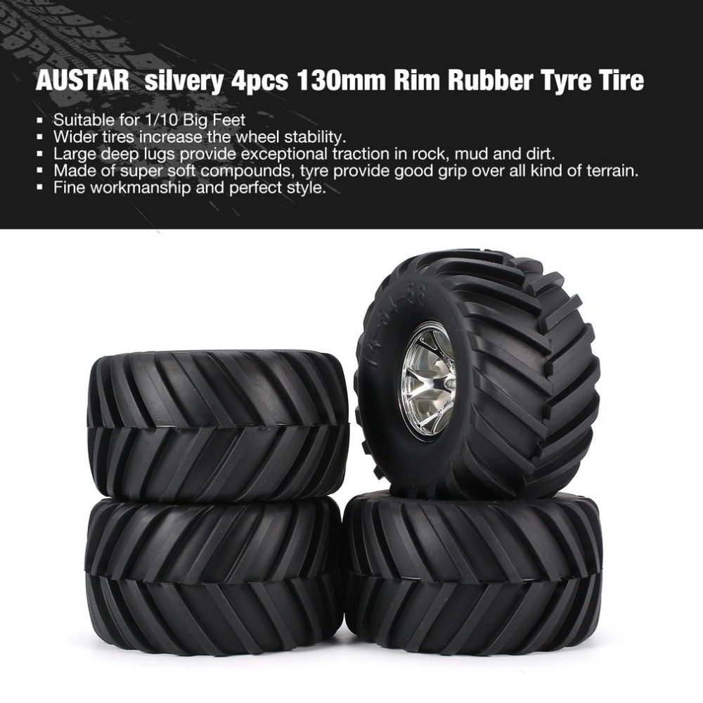 AUSTAR 4pcs AX-3003 130mm Rim Rubber Tyre Tire Wheel Plastic Hub for 1/10 RC Big Feet Model HSP HPI Beadlock Spare Parts fz 1 8 big foot tire hsp big tire diameter 150mm rc car 1 8 17mm wheel rims hex hub 4pcs