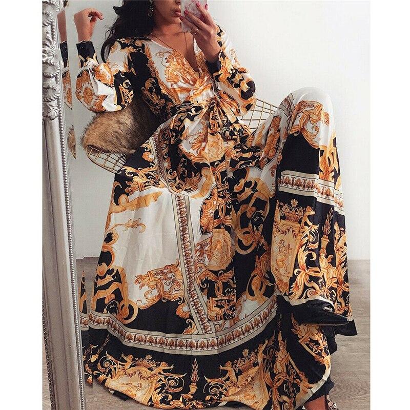 Новые модные женские туфли Для летних вечеринок платье с длинным рукавом женская с цветочным принтом платье Boho пляжный Длинный Макси Вечер...