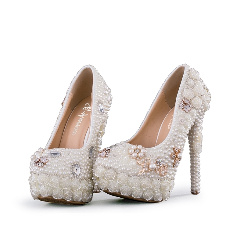 2018 Gorgeous Design Handmade White Wedding Shoes Pearl with Folwer Platform Bridal Shoes Thin Heel Women Party Prom Pumps2018 Gorgeous Design Handmade White Wedding Shoes Pearl with Folwer Platform Bridal Shoes Thin Heel Women Party Prom Pumps