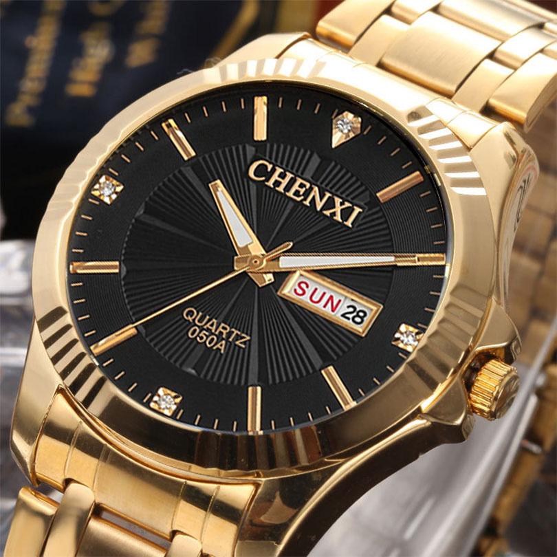 Prix pour Chenxi calendrier montre en or hommes top marque de luxe bracelet à quartz montres homme horloge d'or quartz-montre relogio masculino hodinky
