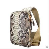Jialante Python haut Brust tasche männlichen schlange leder große kapazität freizeit schräg kreuz-tasche fashion men brusttasche