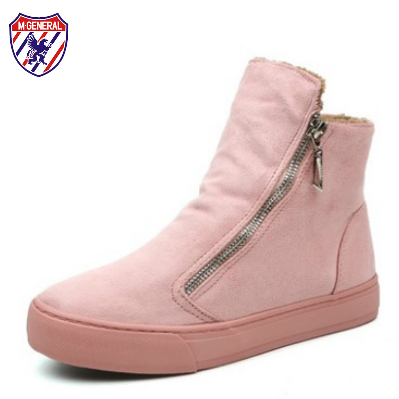 M.GENERAL Women Pink Boots for Winter Autumn 2017 New Fashion Trends Female Snow Boots Ankle High Side Zipper Black Brown Boots