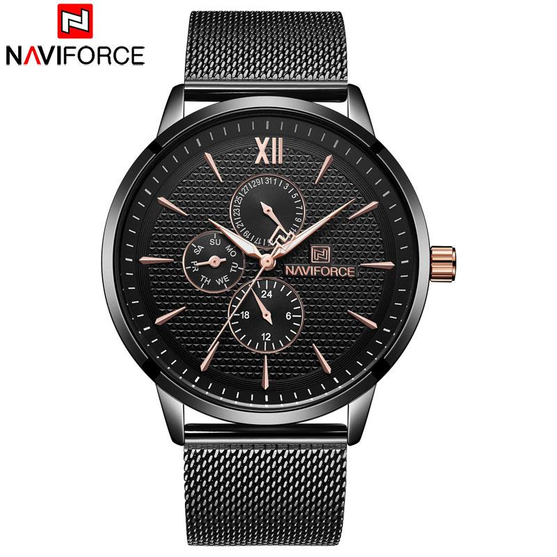Relógios de Quartzo Relógio de Aço do Homem Transporte da Gota Naviforce Marca Relógios Homens Atacado Moda Data Auto Wristwaches Reloj Hombre