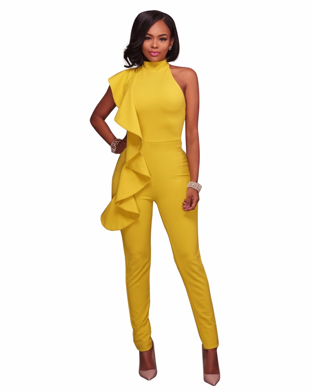 26b1a0a2dd7e Ladies Fashion Rompers yellow black Sleeveless Womens Wide legs Jumpsuit  2017 Long Pants Elegant Overalls Macacao