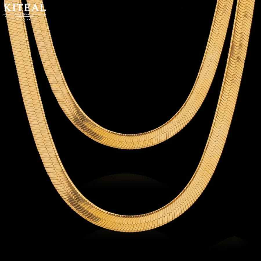 Silver &18KGP Gold Filled Necklaces 5mm 6mm 60cm 50cm  flat Snake Chian Hiphop Necklace jewelry Accessories DIY for Women Men