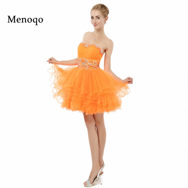 Orange Ball gown Puffy Tulle Beaded Knee length Cute 8th grade graduation  dresses Real Made Homecoming Dresses Short 2019 185cf3003