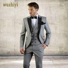 Wuzhiyi Grijze Mannen Pak Slim Fit Jas Met Zwarte Smoking Custom Made Bruidegom Bruiloft Jas Past 2018 (Jas + broek + Vest) suits