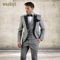 wuzhiyi Gray Men Suit Slim Fit Jacket With Black Tuxedo Custom Made Groom Wedding Jacket Suits 2018 (Jacket + Pants + Vest)suits