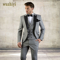 wuzhiyi Gray Men Suit Slim Fit Jacket With Black Tuxedo Custom Made Groom Wedding Jacket Suits 2018 (Jacket + Pants + Vest)suits
