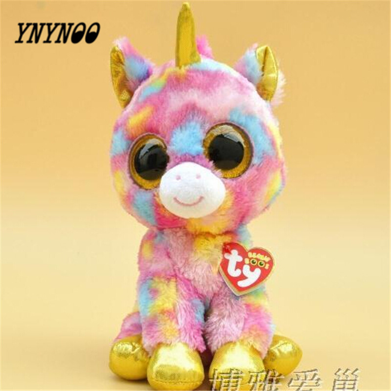 YNYNOO Hot Ty Beanie Boos Big Eyes Small Unicorn Plush Toy Doll Kawaii Stuffed Animals Collection Lovely Children's Gifts LC0067 ynynoo hot ty beanie boos big eyes small unicorn plush toy doll kawaii stuffed animals collection lovely children s gifts lc0067