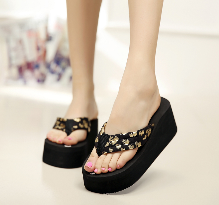 Women Flip Flops Wedges Platform Slippers 2017 Fashion Skull Sandals Wedge Slippers Wedges Women Summer Shoes