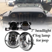 2PCS Auto External Light 7 LED Headlight Projector Daymaker Pair 4 Fog Light Amber Color For