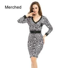 Merched V Neck Autumn Winter Pencil Dresses Women Leopard Elegant Mini Dress Female Plus Size 5xl 6xl Vestidos De Festa Mujer