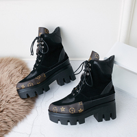 New Botines Mujer Thick Platforms Block High Heels Women Boots Motorcycle Lace Up Ankle Boots Patcwork Round Toe tenis feminino