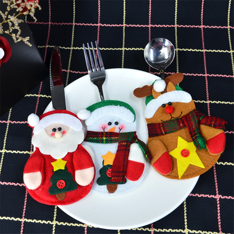 3pcs knife and fork sets santa claus tableware sets christmas decoration christmas supplies. Black Bedroom Furniture Sets. Home Design Ideas