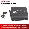 Mini CCTV 2 Canal Móvel Ônibus Táxi DVR De Segurança Do Veículo motion detecção 2ch audio i/o alarme em tempo real suporte cartão sd 128 GB