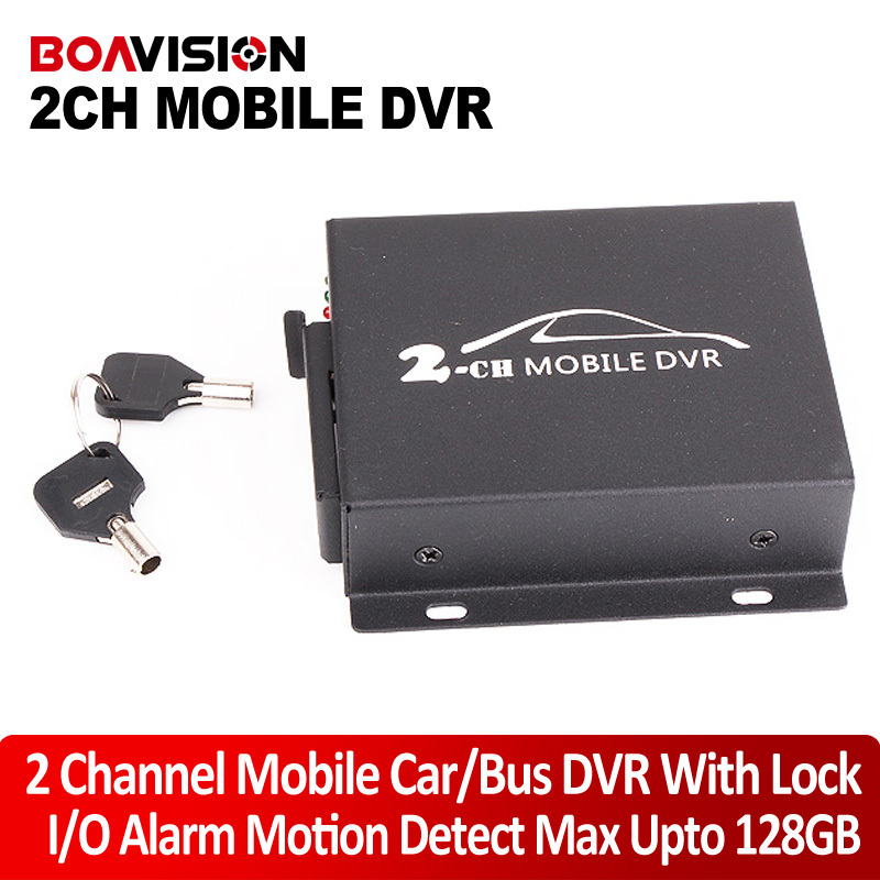Mini CCTV 2 Channel Mobile Taxi Bus Vehicle Security DVR Motion Detect 2Ch Audio I/O Alarm Realtime Support SD Card 128GB 2ch mini vehicle car video recorder bus mini mobile car video dvr i o alarm motion detect max upto 128gb sd card