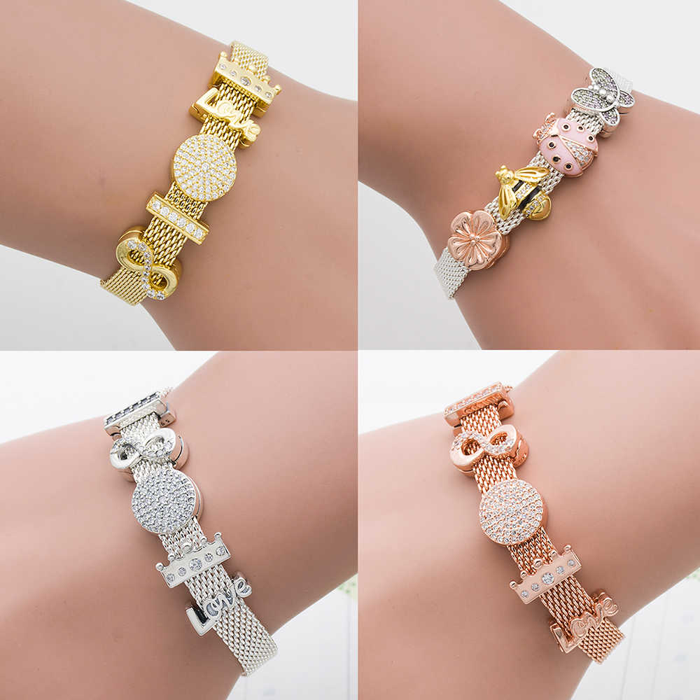 Mingshang hgih quality REFLEXIONS BRACELET Charms bead for women Bracelet 3color clip with AAA zircon gift golden bracelet