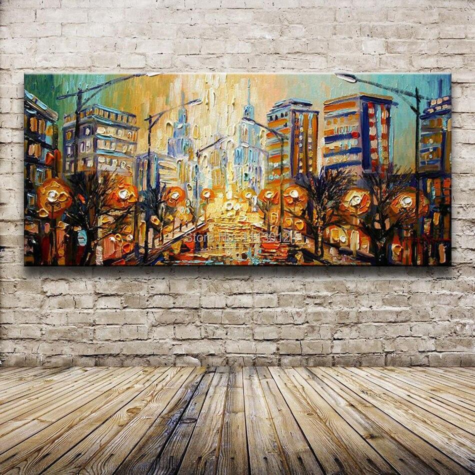 Большой 3D палитра, нож для живописи маслом, современный пейзаж, абстрактный домашний декор стен, набор картин, дождевая уличная дорога на хо