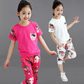 Girls' Floral Clothing Set for Summer 2Pcs/ Cotton Clothing Suit Set for Children Short Sleeve Top + Shorts