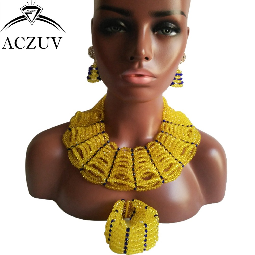 New Arrived Yellow African Beads Jewelry Set 2017 AN027