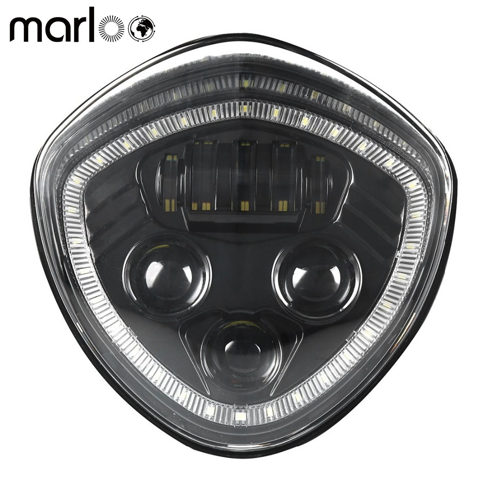 Marloo Led Headlight With white Halo Angel Eye DRL LED Headlamp For 07-17 Victory Motorcycle Cruisers Cross Road Country барьер road angel 19cm