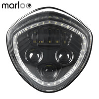 Marloo Led Headlight With white Halo Angel Eye DRL LED Headlamp For 07 17 Victory Motorcycle Cruisers Cross Road Country