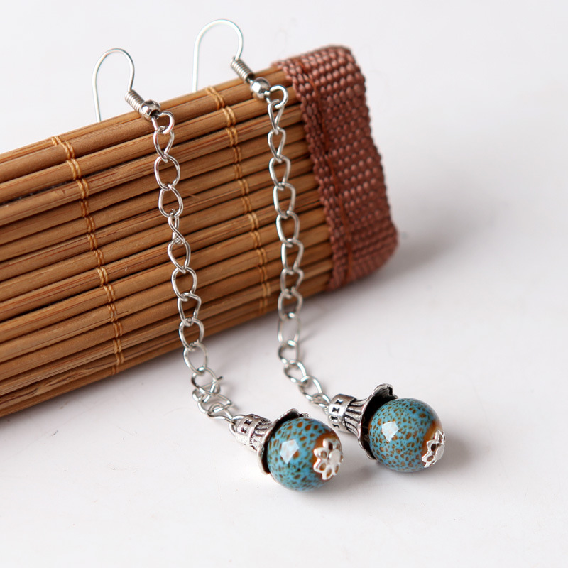 12 Paris/Lot Ceramic Long Earrings Silver Color Tassel Drop Earring Ear Line Jewelry Women Chinese Beads Jewelry Dangle Eardrop