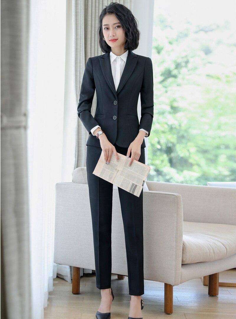 Ladies Conceptions D'affaires Work Wear Femmes Uniforme Blazer Bureau Veste Et Styles Formelle Ensembles Costumes Pantalons Noir gqwz6vz