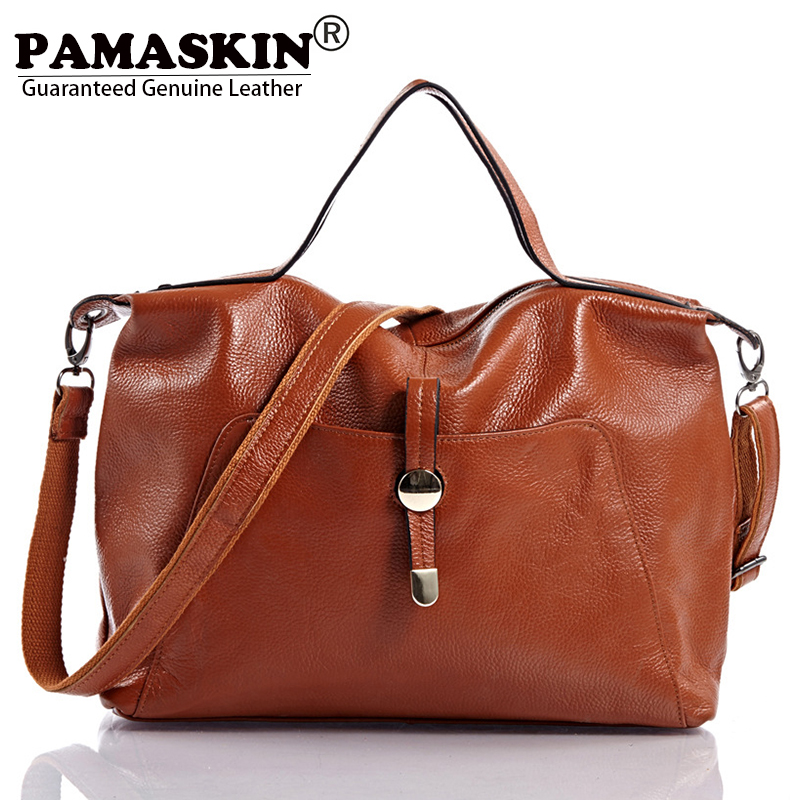 PAMASKIN Luxurious Soft Genuine Leather Cowhide OL Women Handbags Cross body Bags Large Female Travel Totes