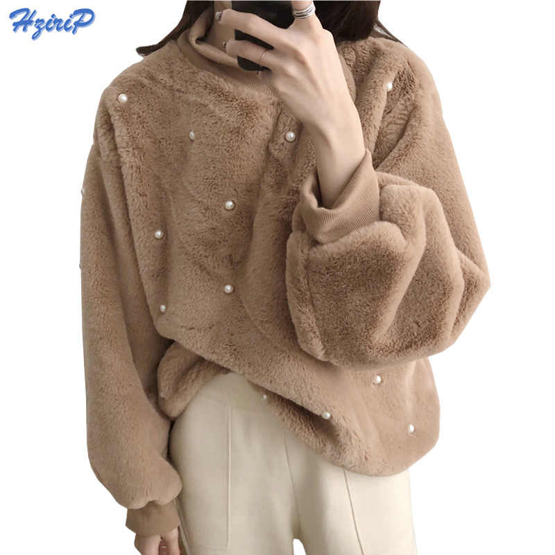 HziriP Winter Women Hoodies Sweatshirts 2018 New Spring Lazy Soft Long Sleeve Warm Hoodie Pearl Decoration Plush Hoodies Girls