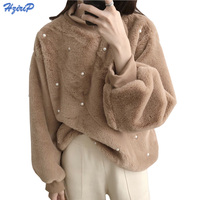 HziriP Winter Women Hoodies Sweatshirts 2018 New Spring Lazy Soft Long Sleeve Warm Hoodie Pearl Decoration Plush Hoodies Girls