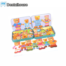 Dental Educational Toys Wooden  bear change clothes big dad and small girl Box Stereo Cute Jigsaw Puzzles Baby Kids Game Gifts