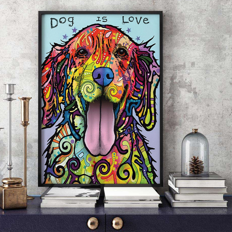 Big Deal  Modern Abstract Oil Painting on Canvas Colorful Dog Pop Wall Art Picture Posters and Prints Canvas